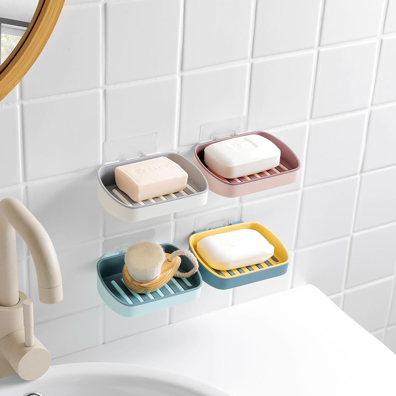 New Hot Wall Mounted Soap Holder Dish Double Layer Soap Box Container Tray Support Plate Saver Bathroom Organizer Detachable