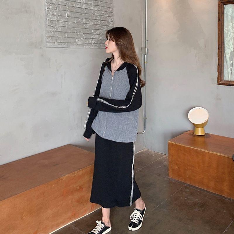 2020 новый Корейский стиль осенью костюм женщин тонкие с капюшоном высокой талии юбки элегантный моды свитер свитер из двух частей набора RQFeP