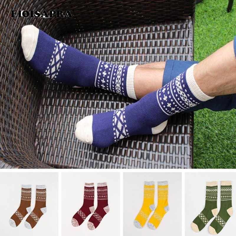 Men's Socks [EIOISAPRA]Japan Harajuku National Wind Striped Patchwork Men Antiskid Breathable Casual Meias Comfort Funny