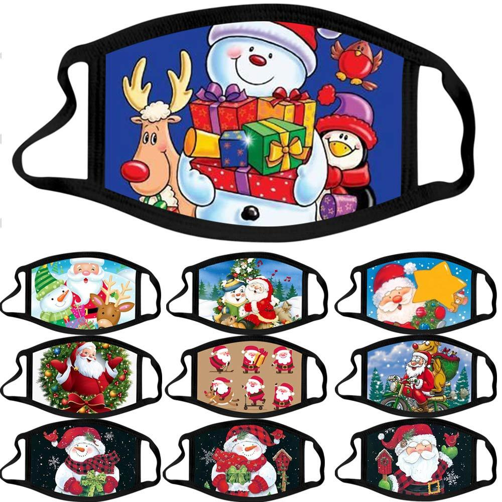 Новое прибытие Рождеством дизайнер маски для взрослых Рождество Giftask мультфильм шаблон ткань маски можно стирать пыль на открытом воздухе маски