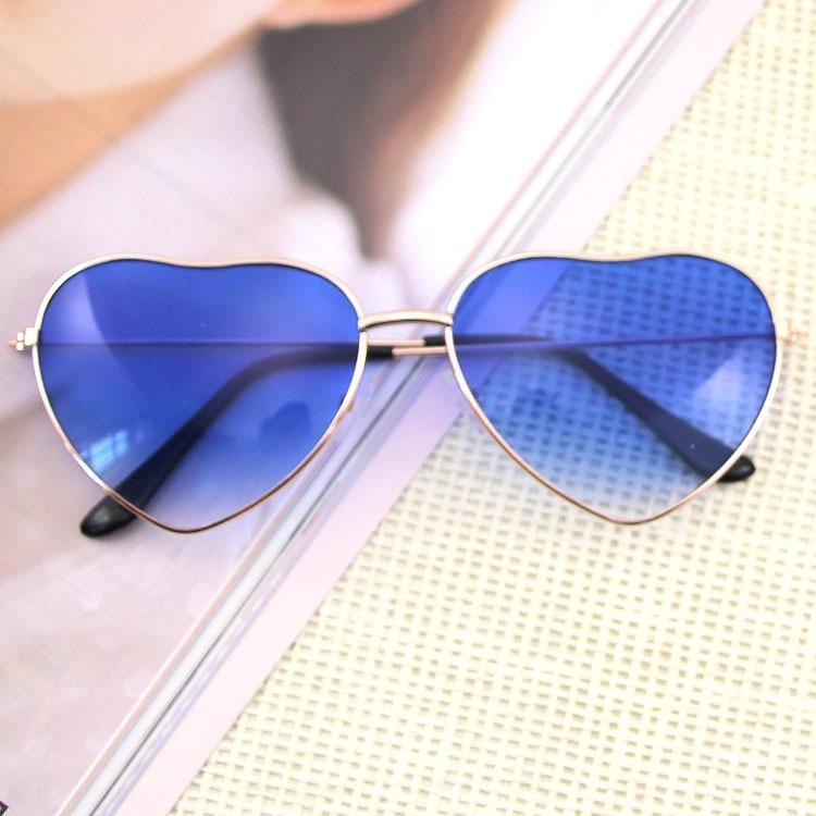 qVdQr Classic Love Metal sole di modo del cuore della pesca oceano occhiali da sole a forma di cuore della moda occhiali da sole 014