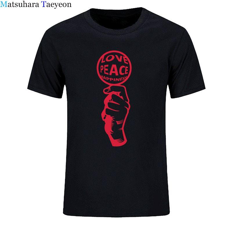 L'amour de paix BONHEUR t-shirt hommes vêtements de marque été 100% coton solide hommes tshirt T-shirt casual manches courtes hommes taille plus