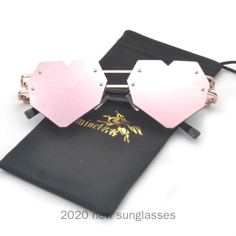 Coração do amor Vintage Sunglasses Mulheres Marca Limpar Lens Sun Glasses Shades das senhoras do coração bonito em forma Sunglass Laranja Eyewear NX