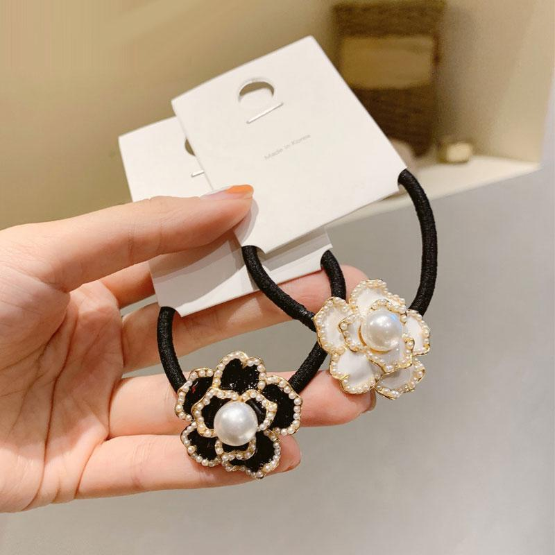 Hair Clips & Barrettes Korean Camellia Rhinestone Crystal Ring Tie Flower Accessories Hairs Head Rope Girl Gift