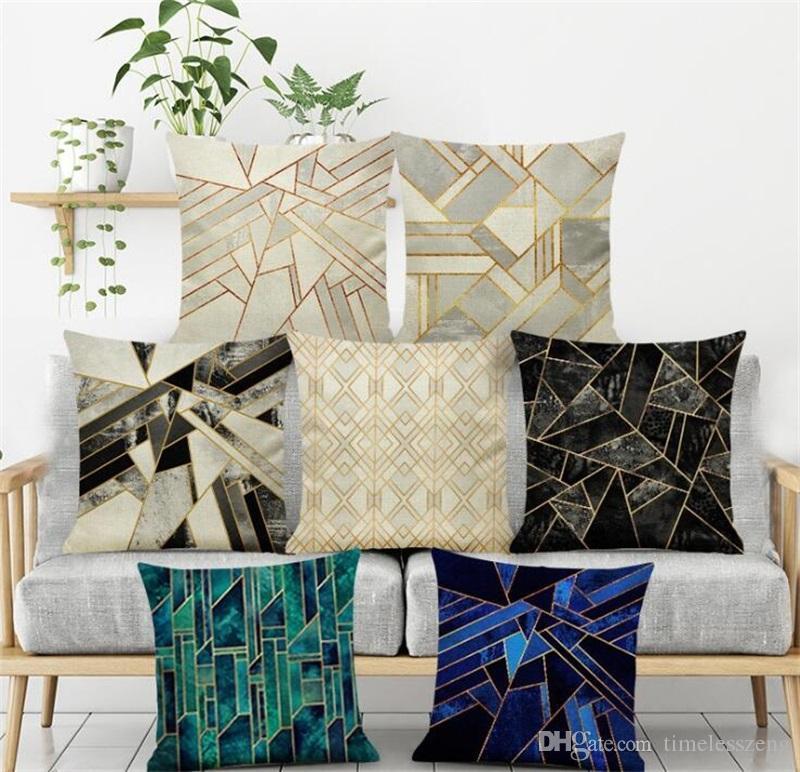 INS Nordic наволочка Новый стиль мрамор геометрический рисунок наволочка льняное волокно домашний офис подушки дивана крышку