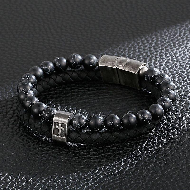 G7MhS Cartão turquesa roda nova moda pulseira de aço inoxidável personalidade turquesa dos homens da moda pulseira de couro Cruz de Homens