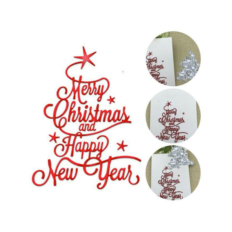 Buon Natale Happy New Year Card curvo Border Fare Scrapbooking Dies Metal Craft metallo Dies taglio Cartolina di auguri fatto a mano