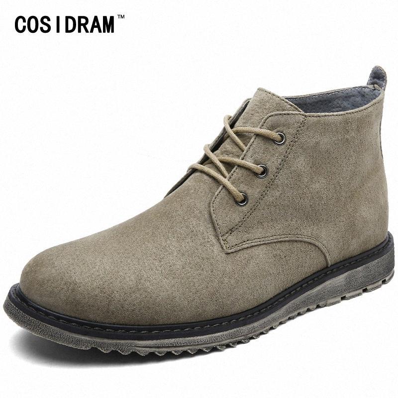COSIDRAM Plush Suede Couro Homens botas de pele 2017 Moda Masculina Botas Botas de inverno quente High Top Shoes RMC 178 alta Hee 8dr9 #