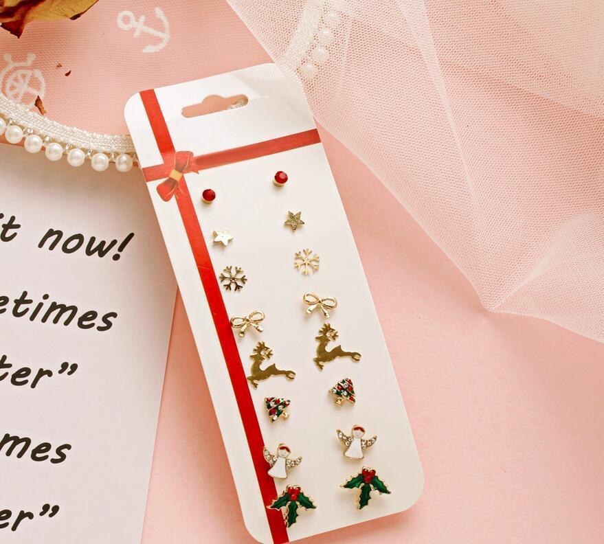 Yeni yaratıcı Noel küpe Noel Baba'nın geyiği küpe basit 8 parçalı tatil hediye küpe set