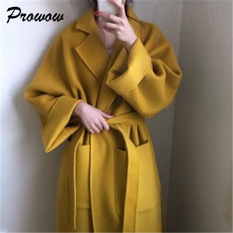 Más el tamaño de las mujeres de largo abrigo de lana largo vendaje flojo Cardigan de lana Escudo Mujer caliente Chaqueta de lana Manteau Femme Hiver