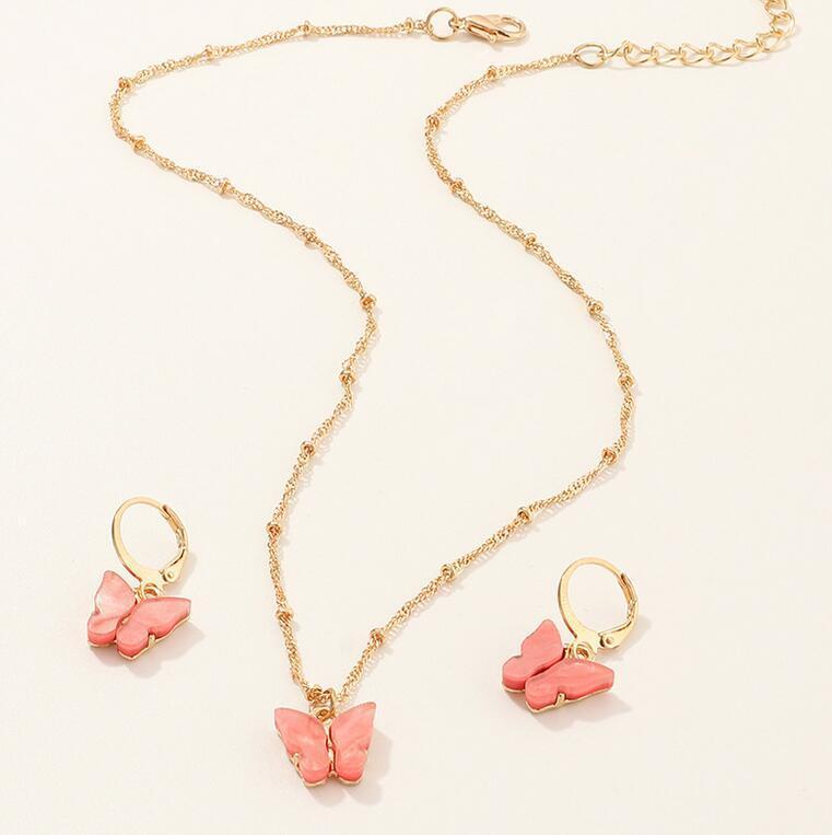 Pingente de borboleta colares e colar rosa brincos definido para Mulheres Meninas Moda elegante do ouro Jóias Choker Moda Doce presente DHL livre