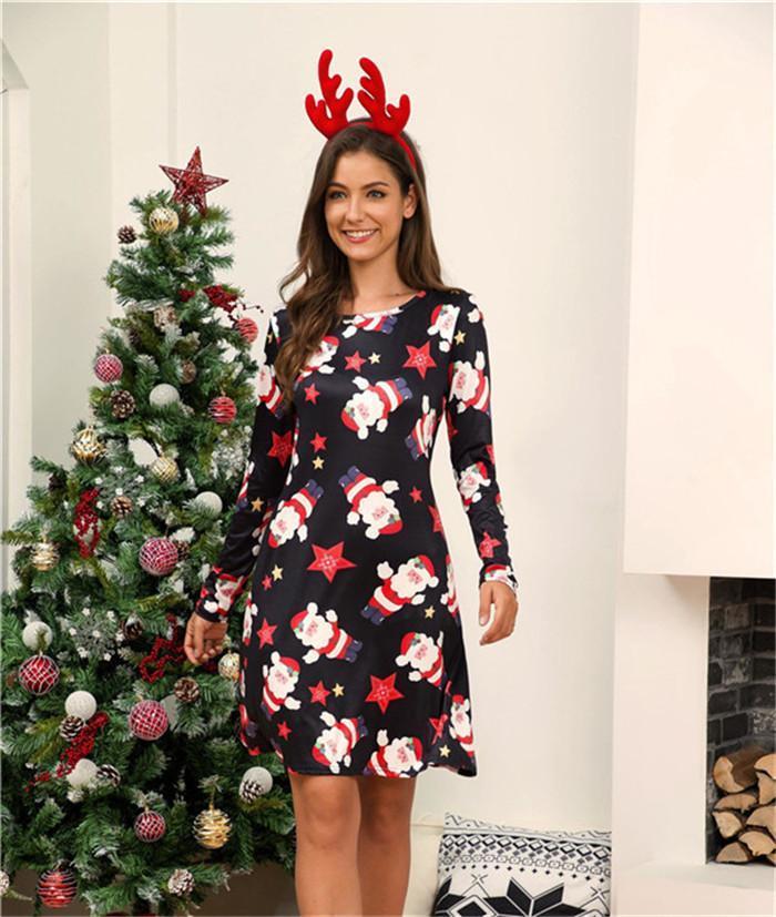 Suéter de manga larga de vestir ropa de otoño casual lindo mujeres del diseñador para mujer vestidos de vacaciones de Navidad Vestidos O Cuello