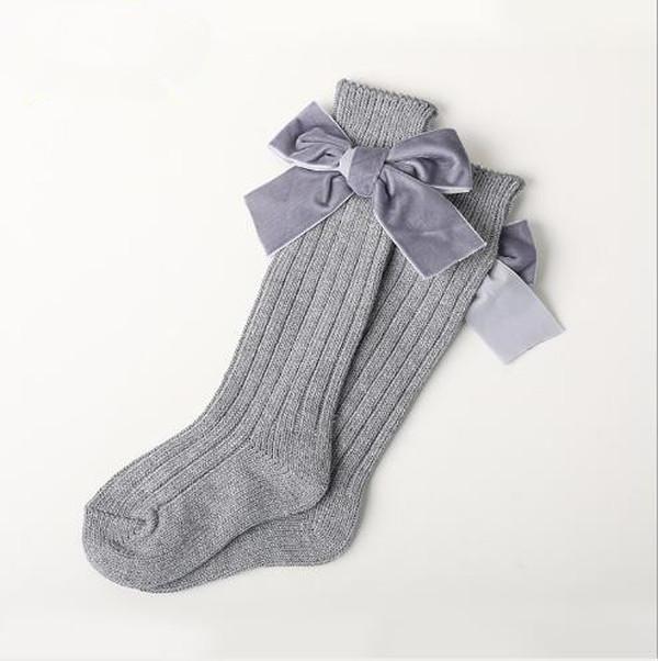 Kış Yeni Çocuk Çorap Kalın Çizgi Örme Tüp Çorap Kadın Bebek Sıcak Pamuk Çorap Moda Kadife Yay Kazıklı Çorap