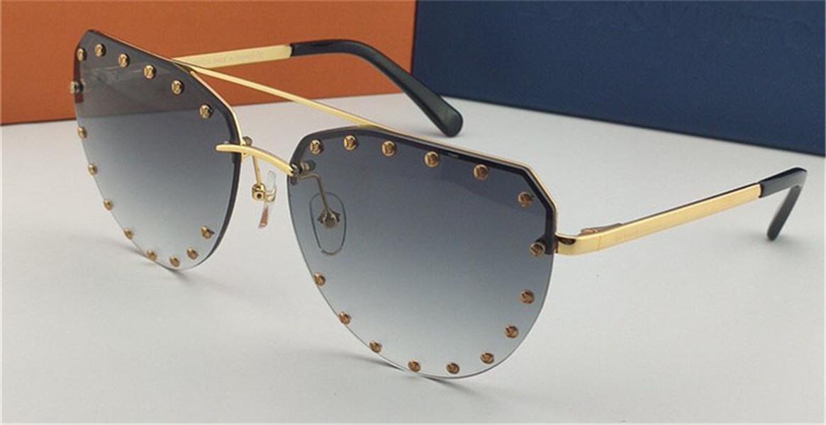 Lunettes de soleil de la mode 0984 Cadre irrégulier sans cadre avec rivets de style avant-gardiste de qualité supérieure UV400 Protection lunettes de protection