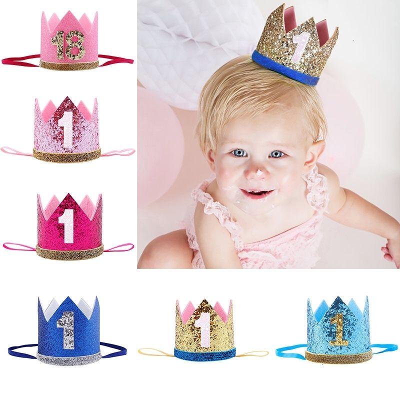 Ragazza del neonato First 1 ° festa di compleanno Uno Tre diciotto anni Corona bambini modello dei capelli fascia della fascia principe Cappelli