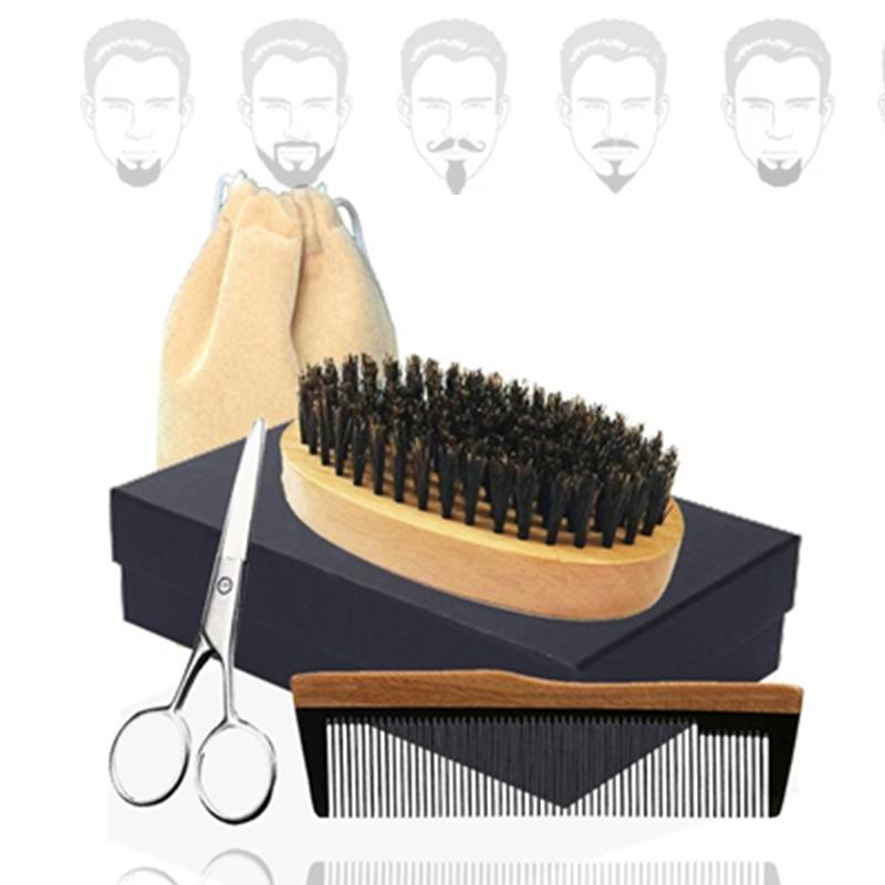 New 5in1 Boar Bristle Beard Brush, Horn Wood Comb & Scissor Box Set Bearded Man Facial Makeup Hair Care Styling Grooming Trimming Company