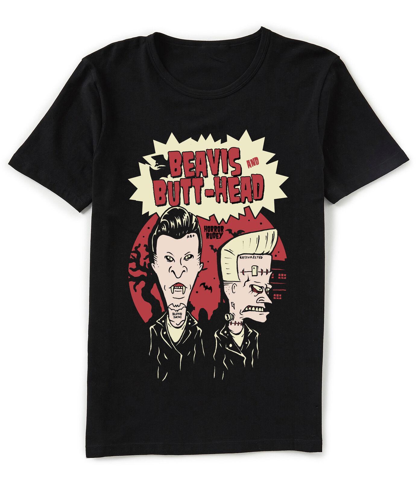 Beavis ve Butthead Korku Rudey Vampir ve Frankenstein Siyah Tişört Klasik Pamuk Tişörtlü Yaka Kısa Kollu Üst Tee