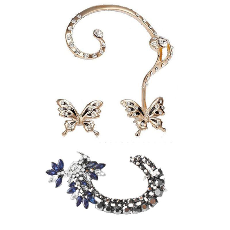 Femmes papillon en strass clip oreille Boucles d'oreilles en cristal clip d'oreille Stud Cartilage Punk Wrap Femmes Boucles d'oreilles bleu