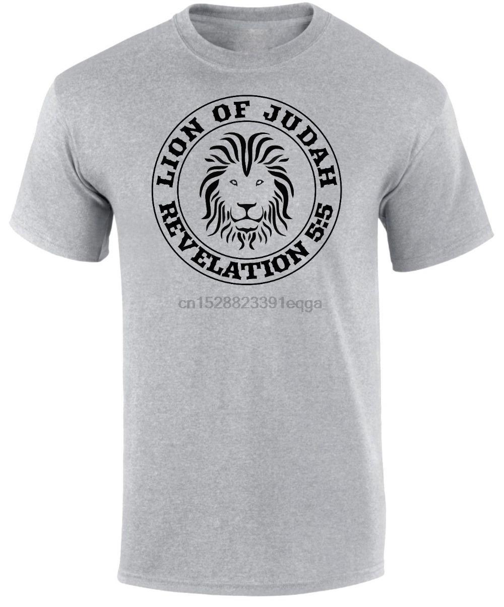 Lion de Juda Apocalypse Bible Jésus-Christ Écriture chrétienne Les nouveaux hommes manches courtes Imprimer T-shirts cool pour les hommes
