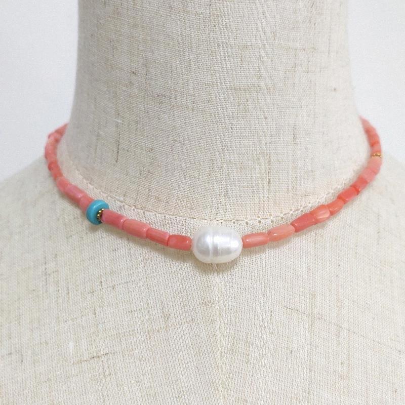 Kadınlar Ayarlanabilir Boncuklu Beyaz Doğal İnci gerdanlık kolye Bildirimi Düğün Takı Hediyeler için Bohemian mercan kolye RqLT #