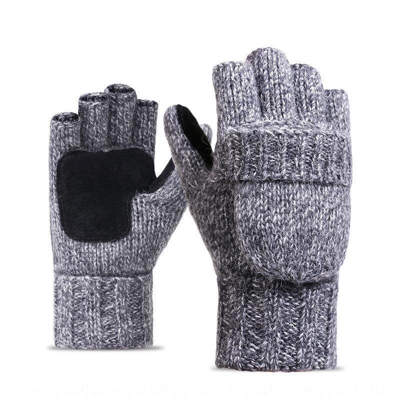 pe8F6 malha luvas metade do dedo aleta lã quente bicicleta dos homens e inverno estilo coreano lã lã espessa couro quente cy ao ar livre das mulheres