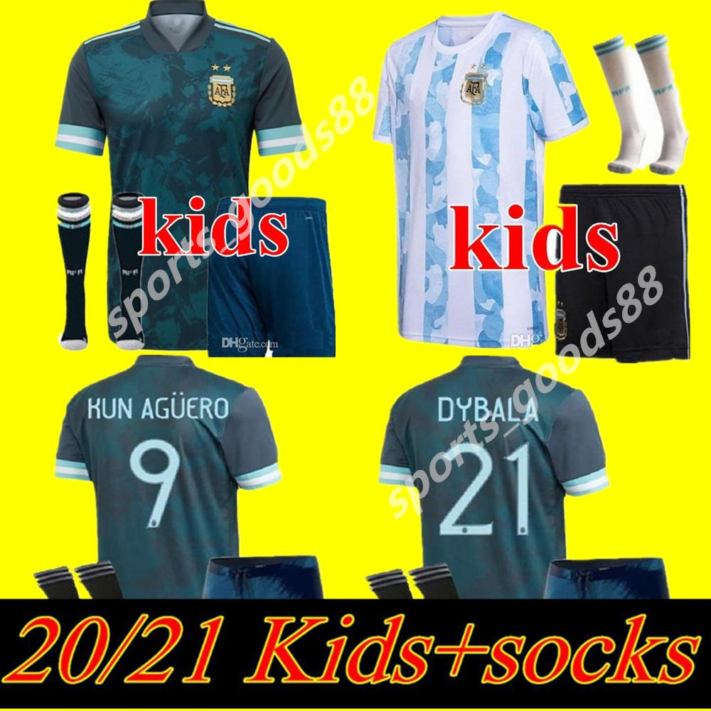 20 21 crianças kit Argentina casa MESSI ARGENTINA Soccer Jersey 2020 2021 Futebol camisa de futebol HIGUAIN ICARDI KUN AGUERO