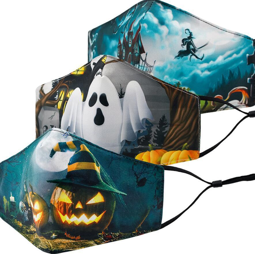 máscara facial moda de Halloween para Navidad máscara adulta manera 3D Impresión anti-polvo Máscara lavable y transpirable partido de Cosplay con el filtro