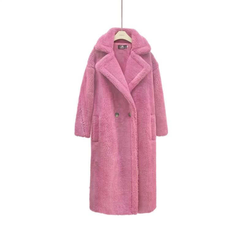 Winter-Pelz-Teddy-Mantel-Frauen High Street Maxi-Teddy Jacken und Mäntel Damen Outwear Lambswool Mantel cwf0004-5 200921