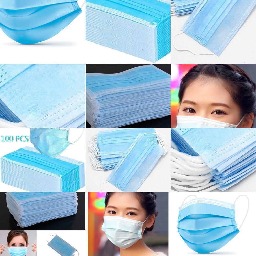 2020 Potente 3 strato di tessuto monouso antipolvere Viso Bocca Maschere dell'orecchio Mask Loop di protezione 50pcs / box LZ781 LETXI blu