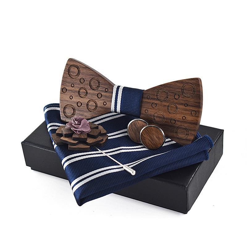 Collo cravatte Linbaiway Camicia da uomo Set di papillon in legno Set per mens Legname Bowtie Gemelli Gemelli Brooch Spilla Sciarpa asciugamano tascabile con scatola