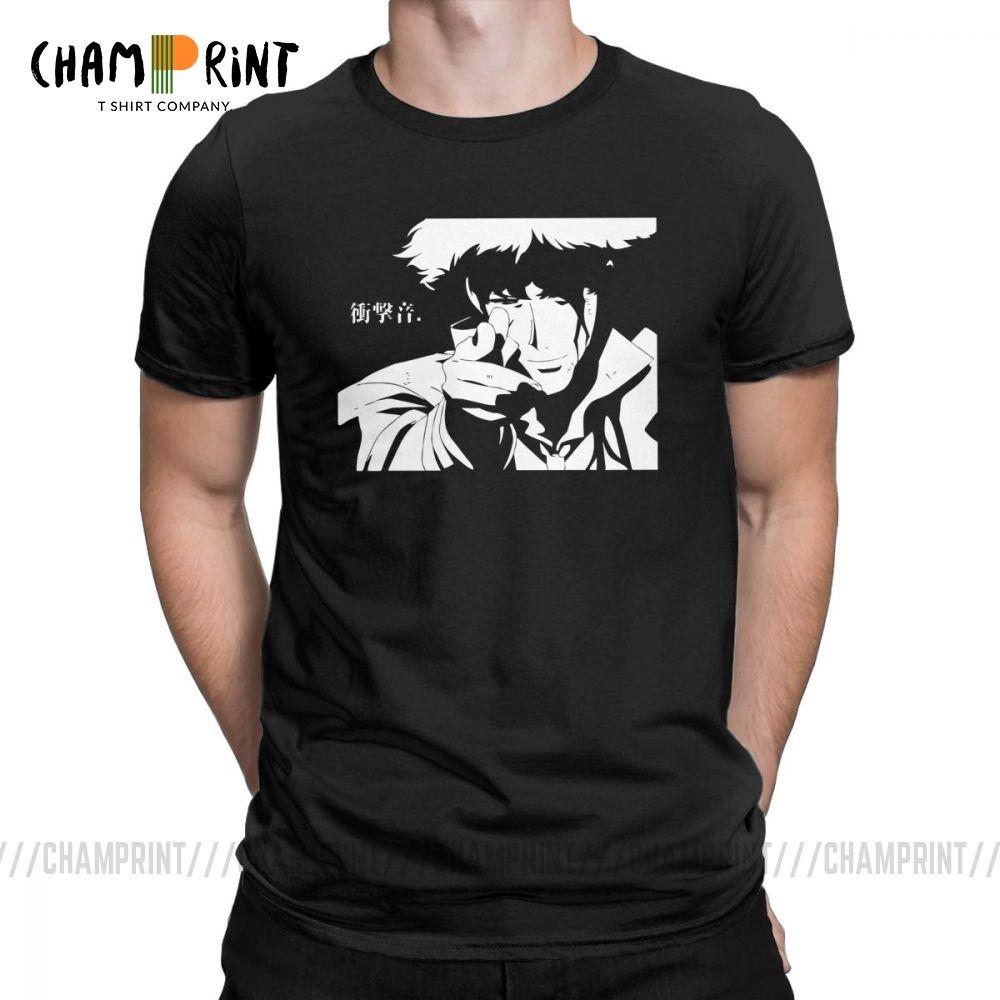 Erkek Kovboy Bebop Tişörtler Cowboy Bebop Anime Piksel Sanat Müthiş Yuvarlak Yaka Kısa Kollu Pamuk Tees Siyah T Shirt