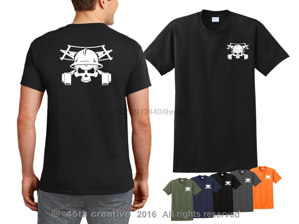 2019 Yeni Pamuk Tişört Lineman tişört - lineman kafatası t gömlek ibew Powerline yan hakem gömlek Yaz Stili Tee Gömlek çapraz kemikler