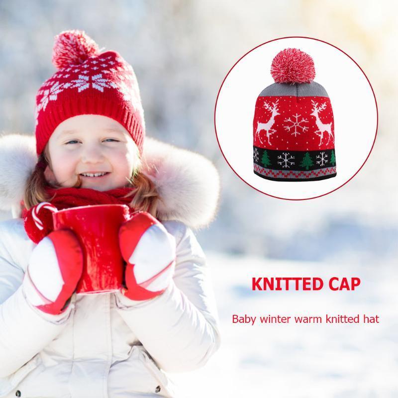 Рождество Hat Kids Winter Hat свитер Вязаный Baby Boy девушка Beanie Рождественский подарок для детей Xmas 2021 Новый год украшения Cap