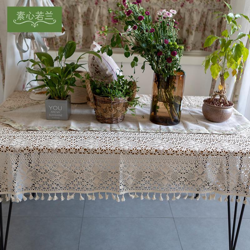 Marque New Bonne Qualité marchandises Pastoral Tissu fait main dentelle au crochet Glands personnalisé Nappe de Table chaud photo thé table en tissu Canapé Sl