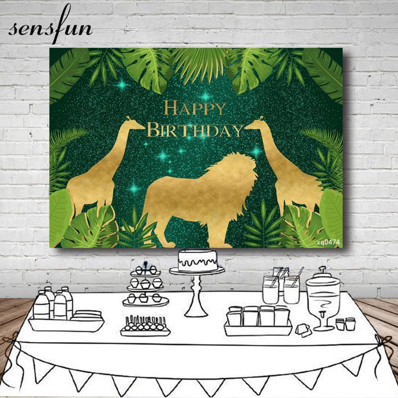Sensfun Safari Jungle Party Backdrops pour les garçons anniversaire feuilles vertes d'or animaux girafe sauvage Lion Photographie Un Fonds