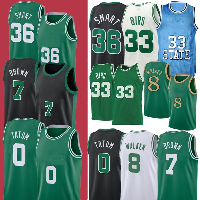 0 Jayson NCAA Tatum BostonCeltics7 8 Kemba Walker Jaylen 33 Larry Brown Bird Smart 36 Marcus college Basketball Jersey