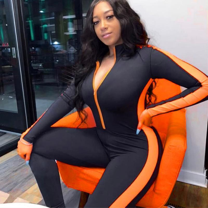 Wholesale Women Fitness Jumpsuit Winter Spring Full Sleeve Zipper Turtleneck Skinny Slim Female Casual Bodysuit Yoga Pants Outfits W889