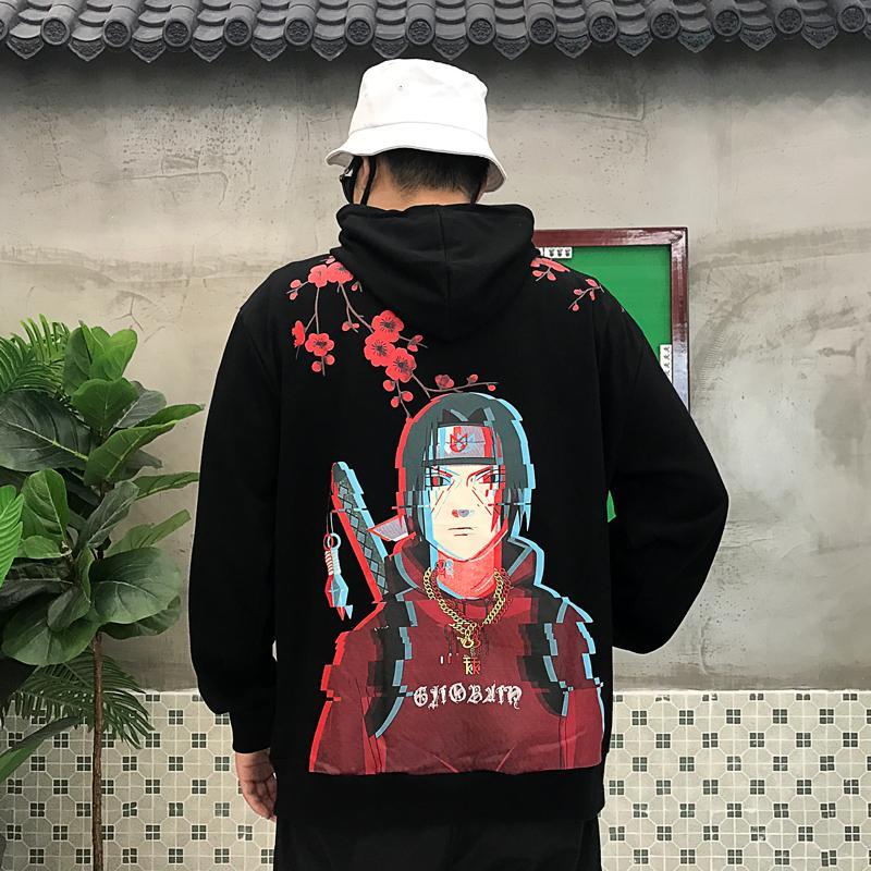 Мужчины хип-хоп толстовки Японский Harajuku мультфильм Наруто Толстовка хлопок Крупногабаритные 2019 Новое прибытие