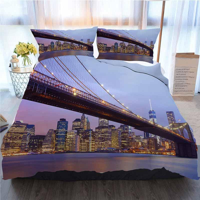 New York Bettwäsche 3 Stück Bettbezug Sets, Brooklyn Bridge und Manhattan Skyline, New York, Home Luxury Soft-Deckbett-Abdeckung