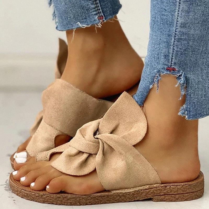 Femmes Chaussons Tongs Rome été Sandales plates en daim Pantoufles Femme Chaussures Femmes Chaussures Slides Femmes 2020 EQAR #