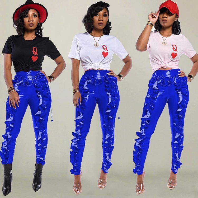 PU de las mujeres plisado Cuffed pantalones de talle alto delgado del lápiz pantalones pantalones color sólido Famale