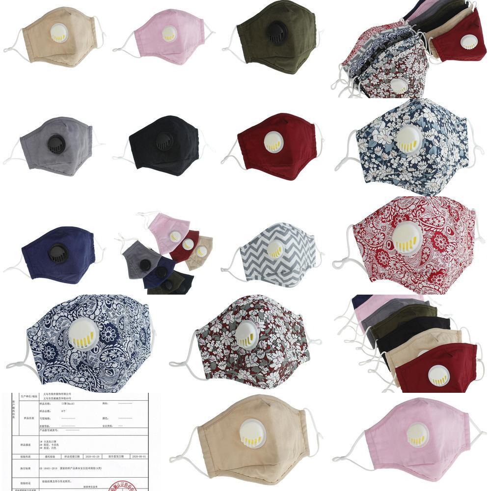 Masque anti-poussière lavable réutilisable PM2,5 Dhl Masques de protection coton visage Valve c Hgsp
