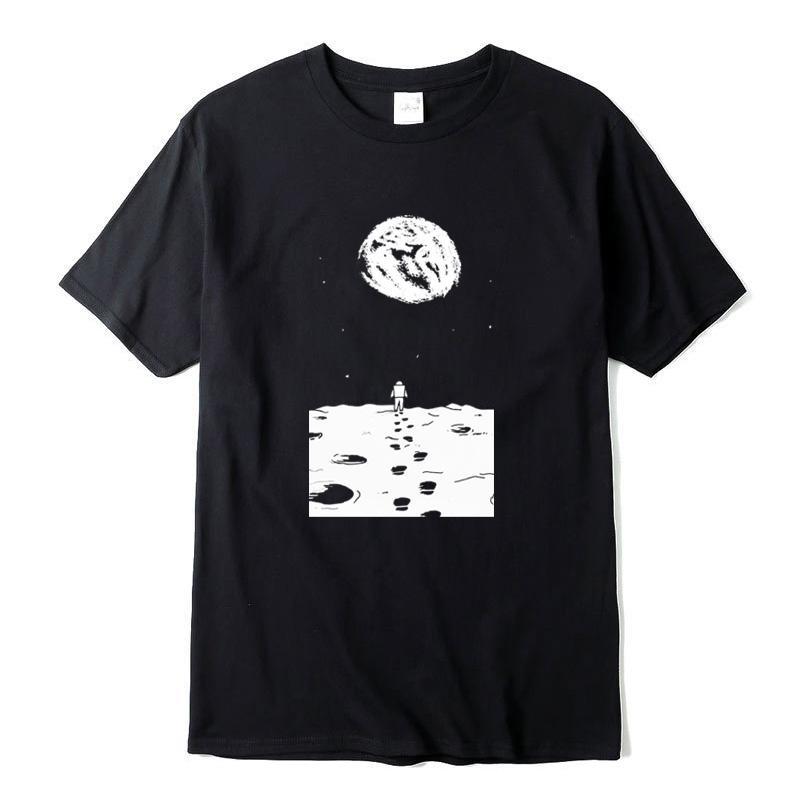 XIN YI Männer beiläufige Art und Weise Top Quality100% Baumwolle kurze Ärmel Lustig Auf dem Mond Druck T-Shirts Oansatz gestrickte T-Shirts männliches T-Shirt