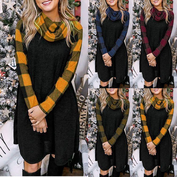 Fashion Plaid Printed Loser Rollkragen Langarm Kleid beiläufige Frauen Kleider plus Größe Damen Designer-Kleider Winter-