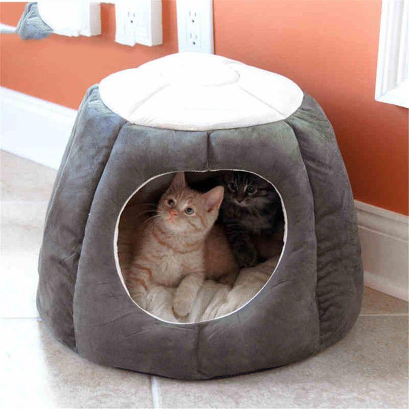 Morbido pieghevole del gattino del gatto Casa molli caldi del cotone di inverno del cane del gatto dell'animale domestico della fossa di scolo della tenda nido accogliente per i piccoli cani Pet Supply