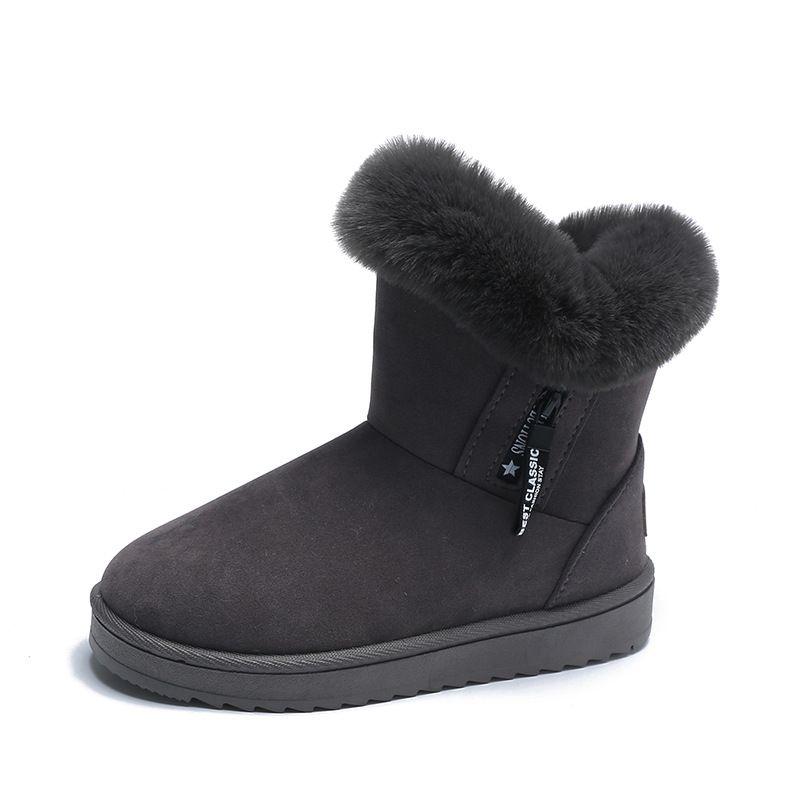 Snow boots women plus velvet thick plush shoes for fall/winter new style belt buckle flat ankle boots ladies warm cotton shoes wholesale