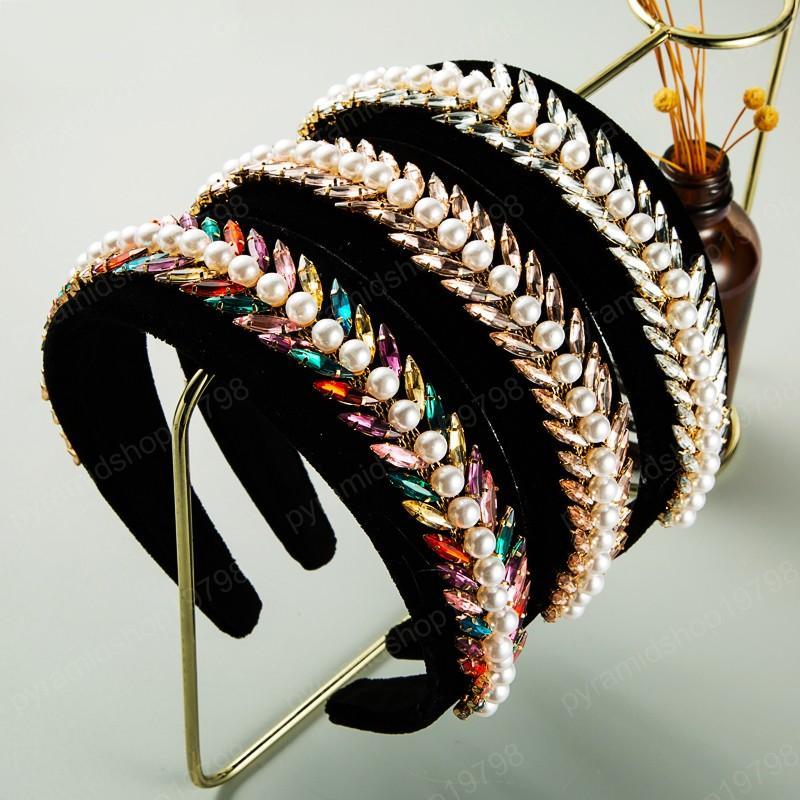 Vintage del color multi de la venda de la hoja de cristal para la fiesta de boda elegante de la mujer simulado pelo de la perla del aro de la mujer Accesorio para el pelo