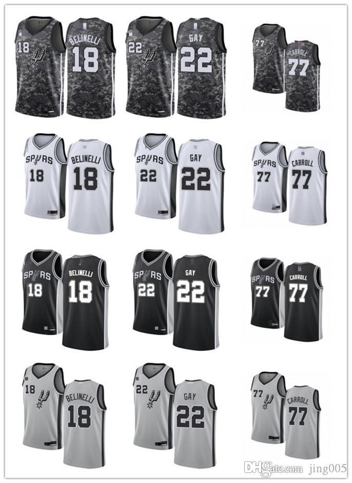 Delle donne degli uomini della GioventùSant 'AntonioSpurs22 RudyGay 18 MarcoBelinelli 77 DeMarre Carroll nero su misura del pullover di pallacanestro