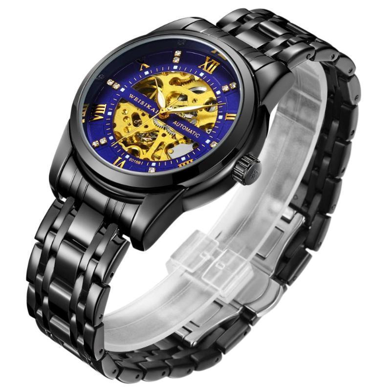 Armbanduhren Top Weissikai Mechanische Uhr Männer Mode Schwarz Edelstahlband Armbanduhr Männliche Uhr Relogio Masculino