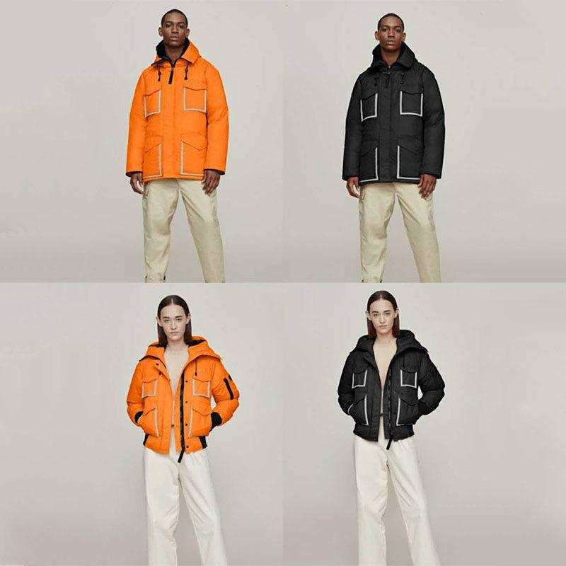 20FW Avrupa Ortak Yansıtıcı Şerit Aşağı Ceket Nakış Hayvan Kısa Aşağı Coat Moda High Street Çift Kadınlar Erkek ceketler HFXHYRF033